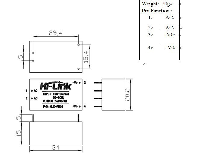 Switching Power Supply 220V to 5V 600mA Hi-Link HLK-PM01