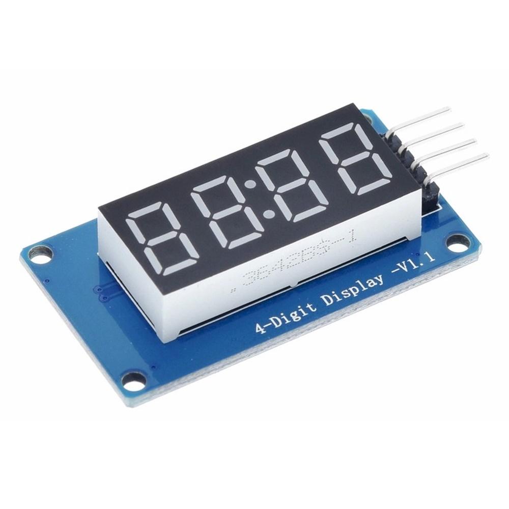 """โมดูลแสดงตัวเลข 4 หลัก สีแดง LED 7 Segment 4-Digit 0.36"""" Display Module TM1637"""