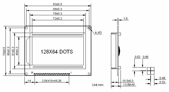 จอแอลซีดี 128x64 สีเหลือง 12864 LCD Graphic Display 128x64 Dot Matrix Yellow Screen