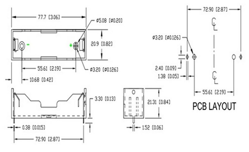 รางถ่านแบตเตอรี่ 18650 ขนาด 1 ก้อน แบบลงปริ้นท์ 18650 Lithium Battery Holder